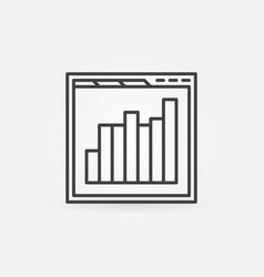 browser with bar chart line icon web vector image