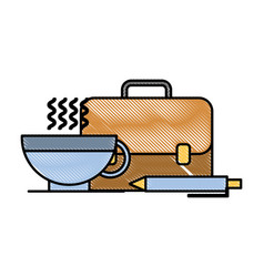 business briefcase pen and coffee cup vector image