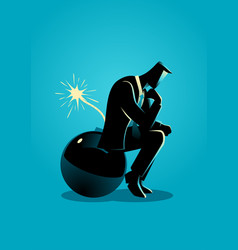 Businessman sitting on a bomb while thinking vector