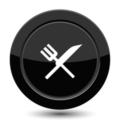 Button with fork and knife vector image