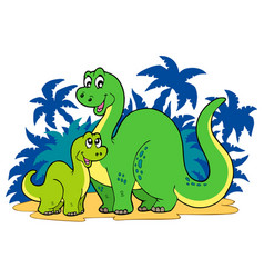 Cartoon dinosaur family vector