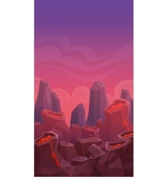 Cartoon vertical volcano landscape vector