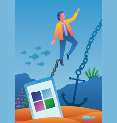 chained to smartphone vector image