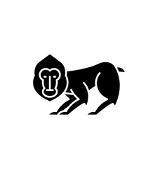 chimpanzee black icon sign on isolated vector image