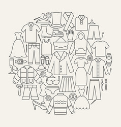 clothing line icons circle vector image