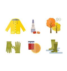 Collection autumn clothes set items fall vector