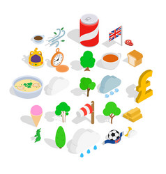 colonies icons set isometric style vector image