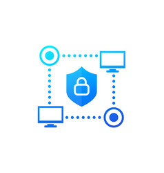 Computer network cyber security icon for web vector