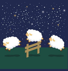 counting sheep in night background vector image