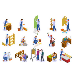 craftsman work isometric set vector image