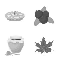 Cranberry pumpkin pie honey pot maple leaf vector