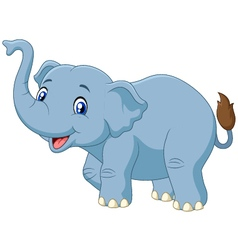 Cute cartoon elephant isolated on white background vector