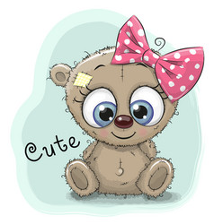 cute drawing bear girl vector image