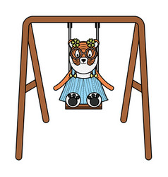 Cute female tiger in swing character vector