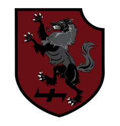 Design patch heraldic shield with a werewolf vector