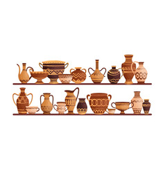 different ancient greek ceramic dishware on vector image