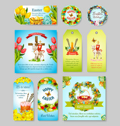 easter gift tag greeting banner and poster set vector image