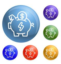 economy save piggy bank icons set vector image
