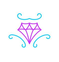 elegant diamond logo line style curvy shapes vector image