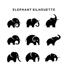 elephant logo set symbol silhouette vector image