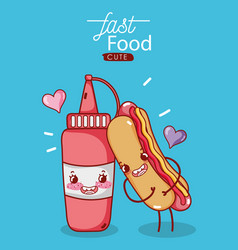 Fast food cute hot dog and tomato sauce love vector
