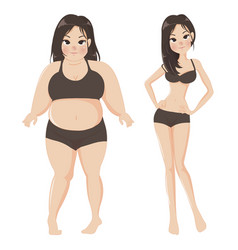 Fat girl compares thin body beautiful vector