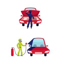 flat mechanic boy and car set vector image