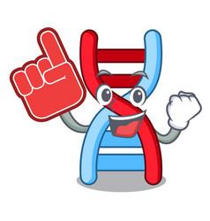 Foam finger dna molecule mascot cartoon vector