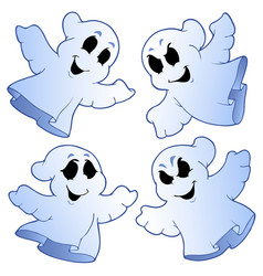 Four cute ghosts vector