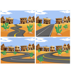 four scenes with roads in the western town vector image