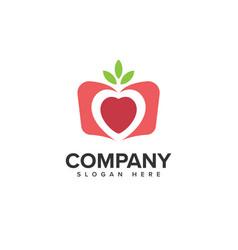 Fruit love logo design vector