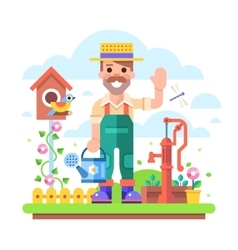 Gardener with watering can stands near water pump vector image