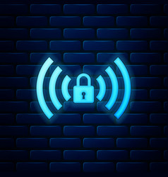 Glowing neon wifi locked sign icon isolated on vector