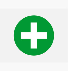 Green plus sign icon cross symbol of safety vector