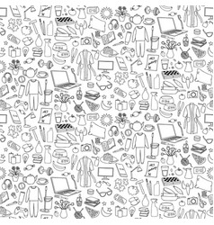 Hand drawn home seamless pattern repeat vector