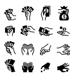 Hand money icon vector