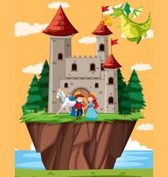 happy prince and princess vector image