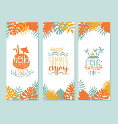 hello summer enjoy vacation banner template vector image
