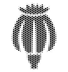 Hexagon halftone opium poppy icon vector
