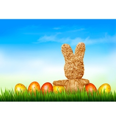 Holiday Easter background with straw rabbit and vector image