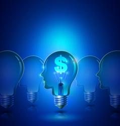 Human Head Light Bulb with Dollar Symbol Business vector