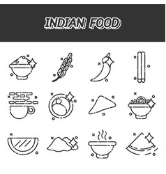 indian food cartoon concept icons vector image