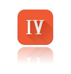 iv roman numeral orange square icon vector image