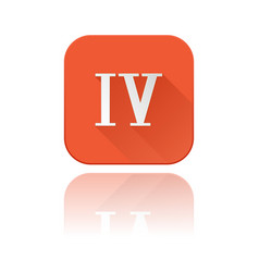 iv roman numeral orange square icon with vector image