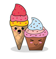 Kawaii ice cream cupcake image vector