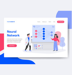 landing page template neural network concept vector image