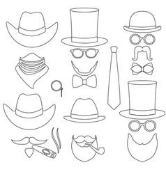 line art black and white 6 man avatar element set vector image