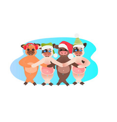 little oxes in santa hats holding hands vector image