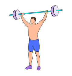Man with barbell icon cartoon vector