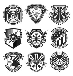 military patch emblem badge set vector image